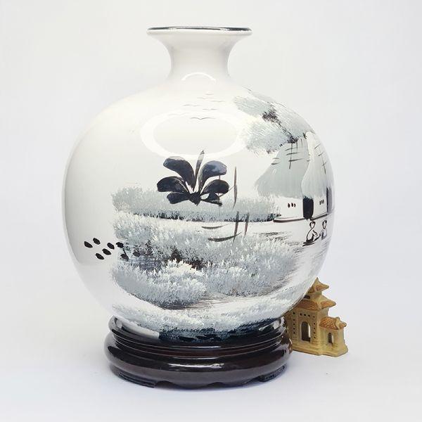 Các loại bình hút tài lộc in hình phong cảnh làng quê
