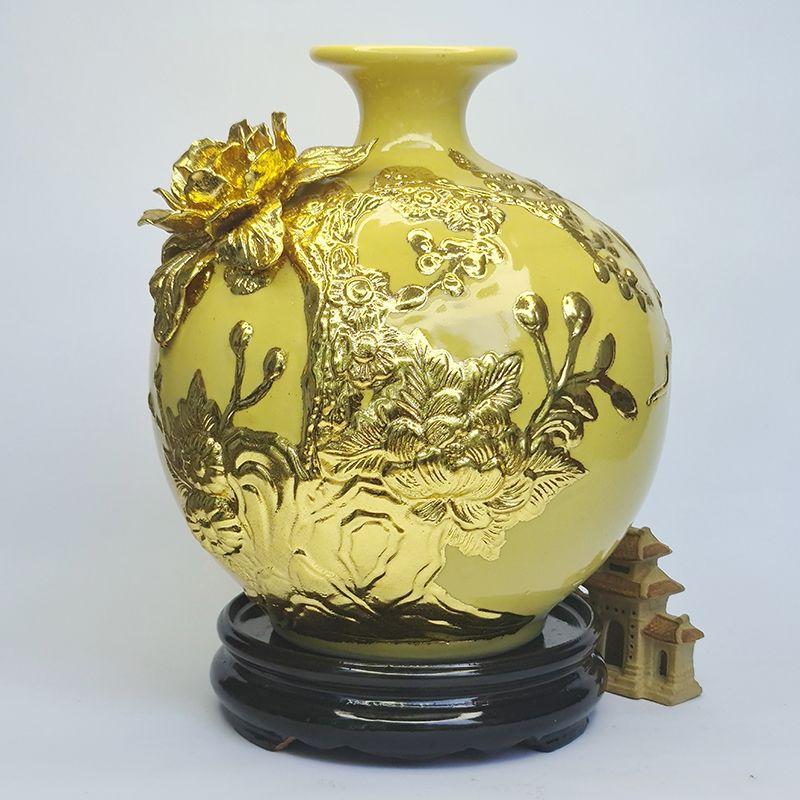 Bình gốm Thuận Buồm Xuôi Gió Hút tài lộc vẽ vàng 24K