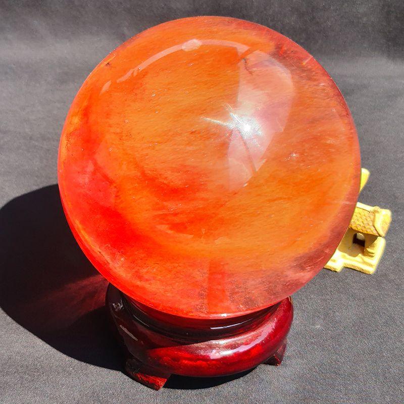 Quả cầu đá Obsidian đỏ bày bàn làm việc