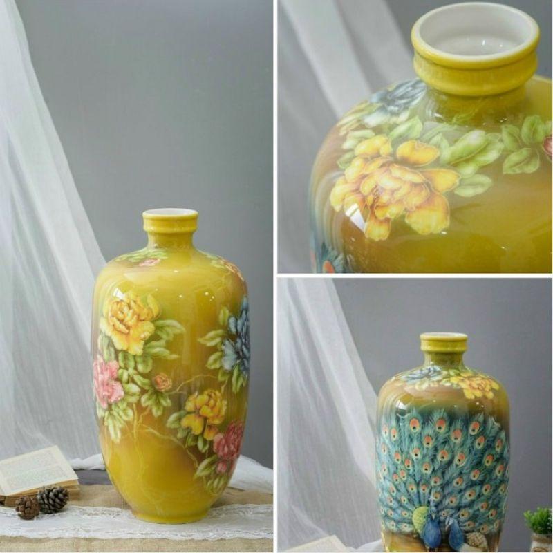 Bình sứ vẽ hoa 3D