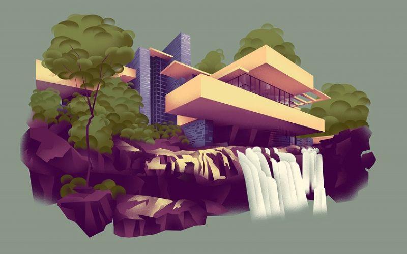 Minh Hoạ Nghệ Thuật Về Ngôi Nhà Của Frank Lloyd Wright
