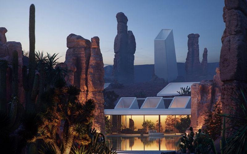 Vùng đất khô cằn với những ngôi nhà trên sa mạc tuyệt vời