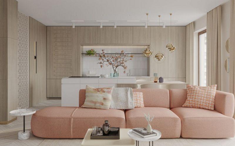 Nội thất căn hộ hiện đại với trang trí điểm nhấn màu hồng
