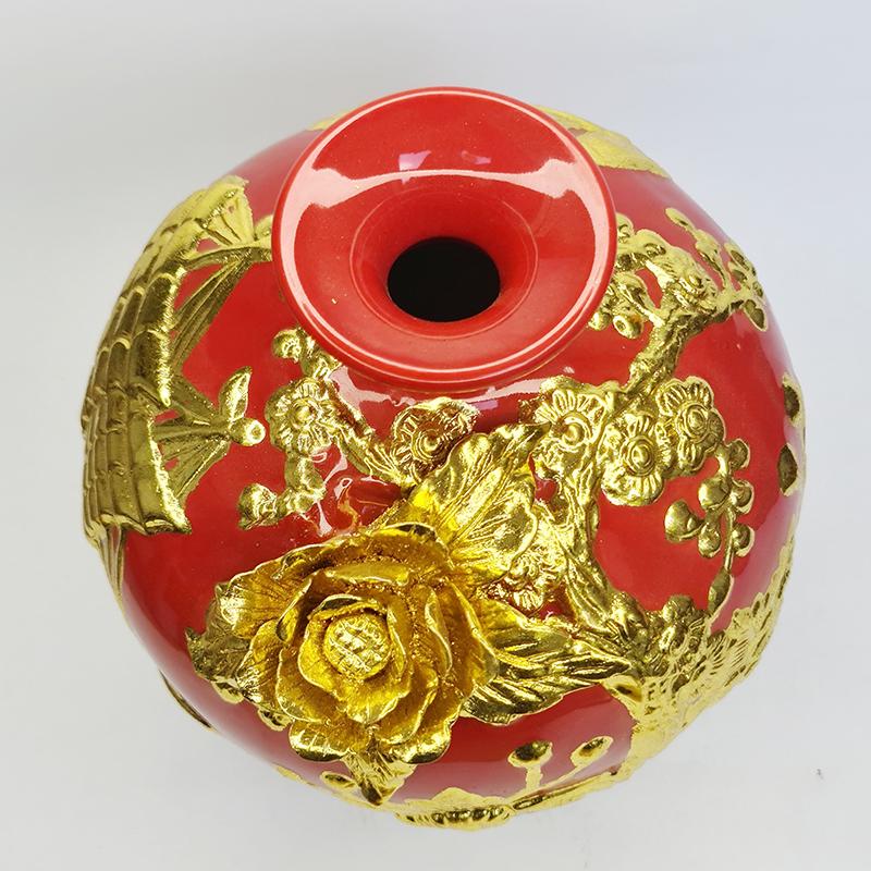 Bình gốm sứ đỏ vẽ Thuyền Ra khơi chiêu tài lộc