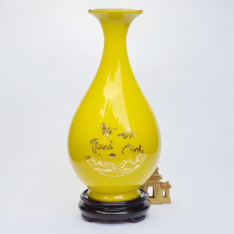 Bình tỳ bà hút lộc màu vàng