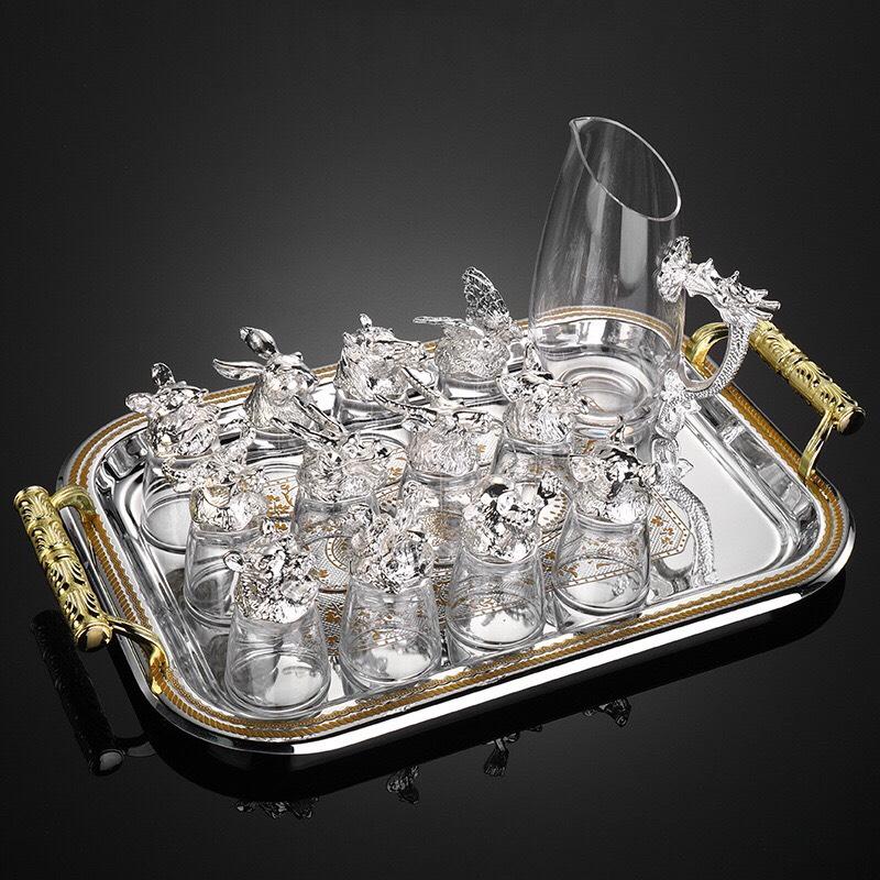 bộ ly rượu 12 con giáp mạ bạc