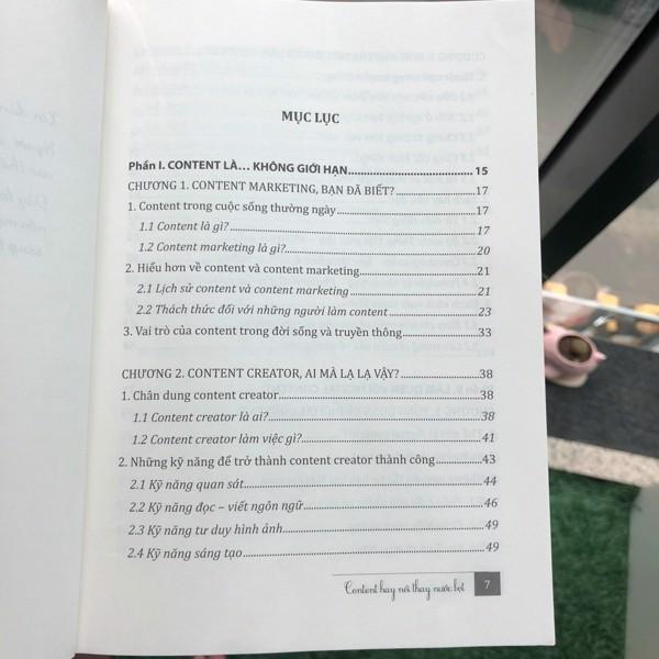 Mục lục sách content hay nói thay nước bọt